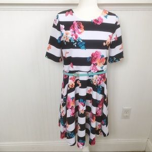 Lilt Striped Floral Belted Short-Sleeve Dress 20.5